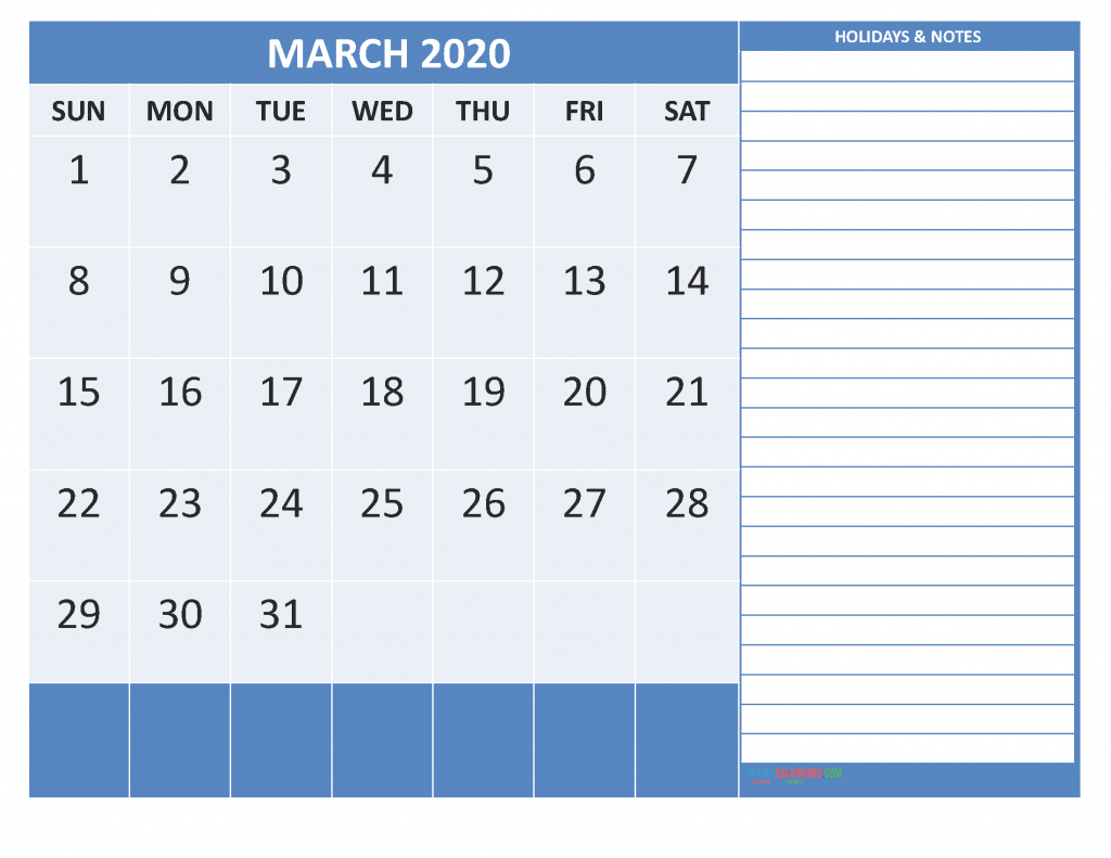 Print Calendar March 2020 with Notes
