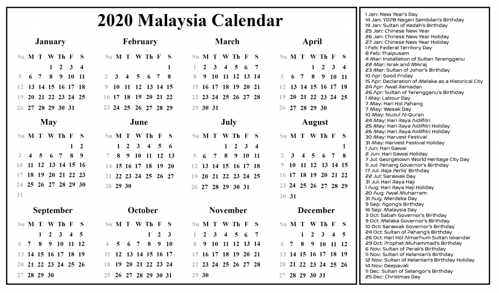 march 2020 holidays malaysia