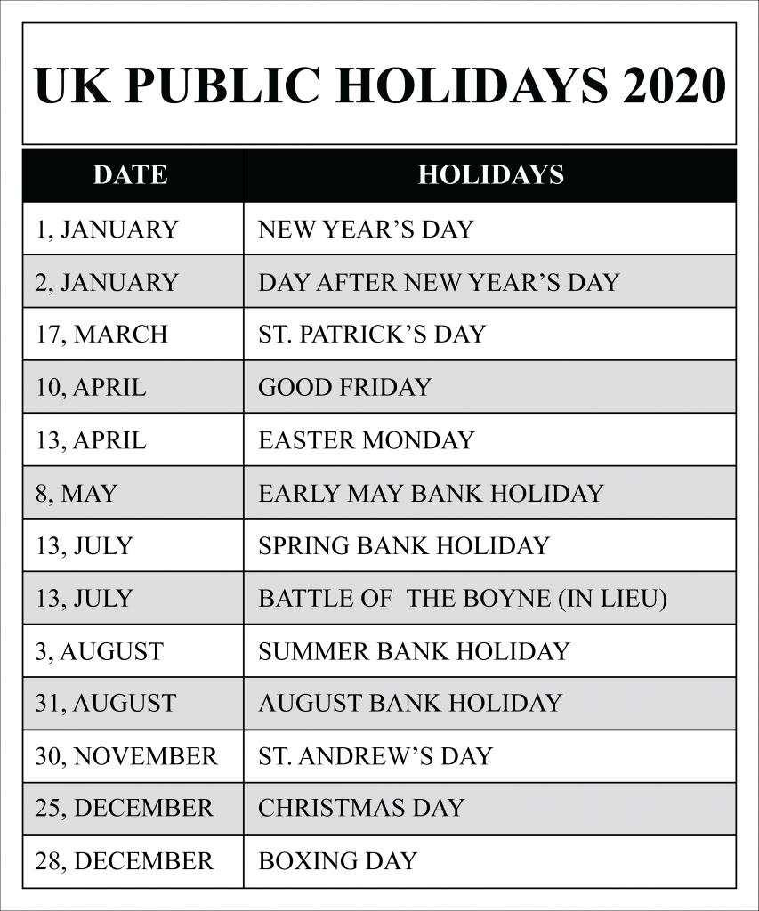 march 2020 holidays uk