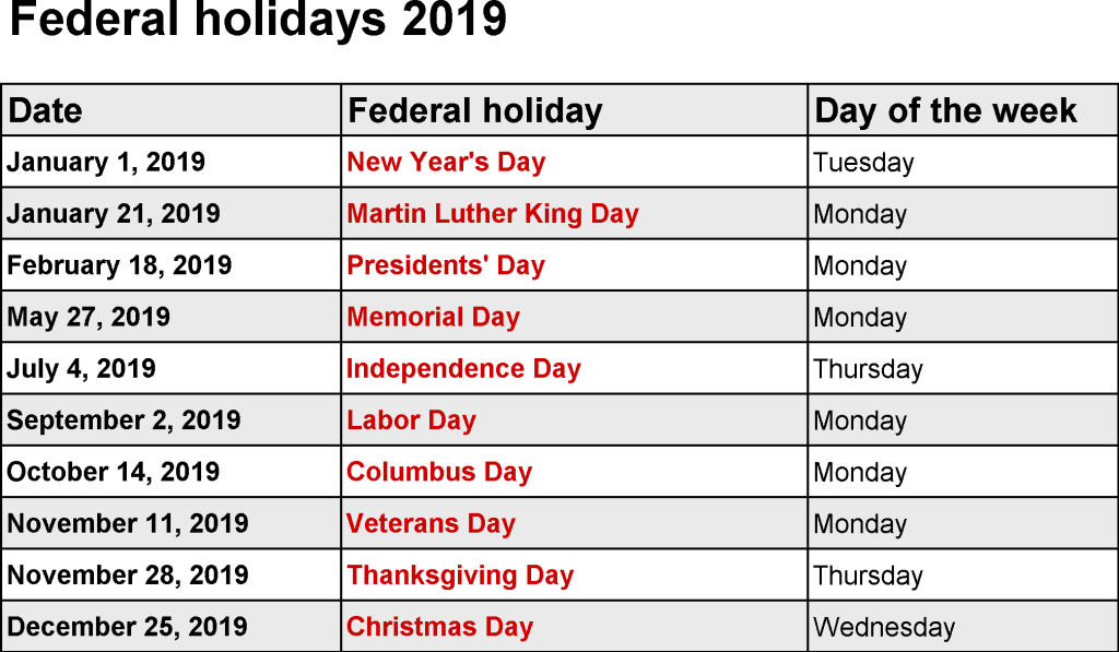 2019 Calendar With Public Holidays