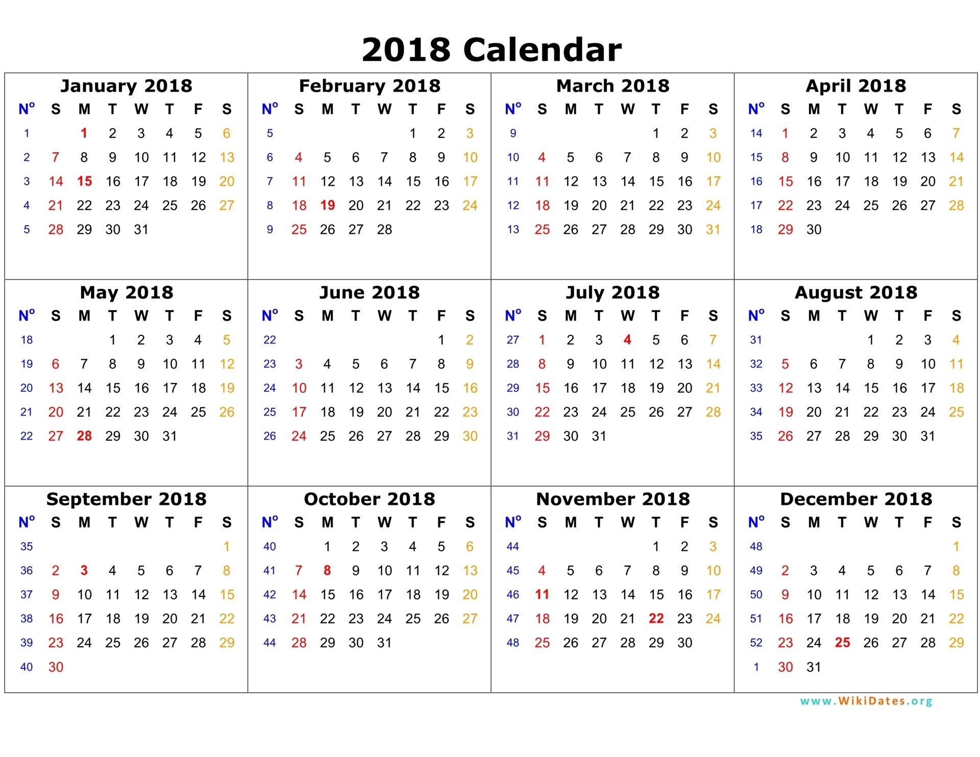 2018 Calendar Template | Monthly Printable Calendar within Printable Calendar 2018 Pdf