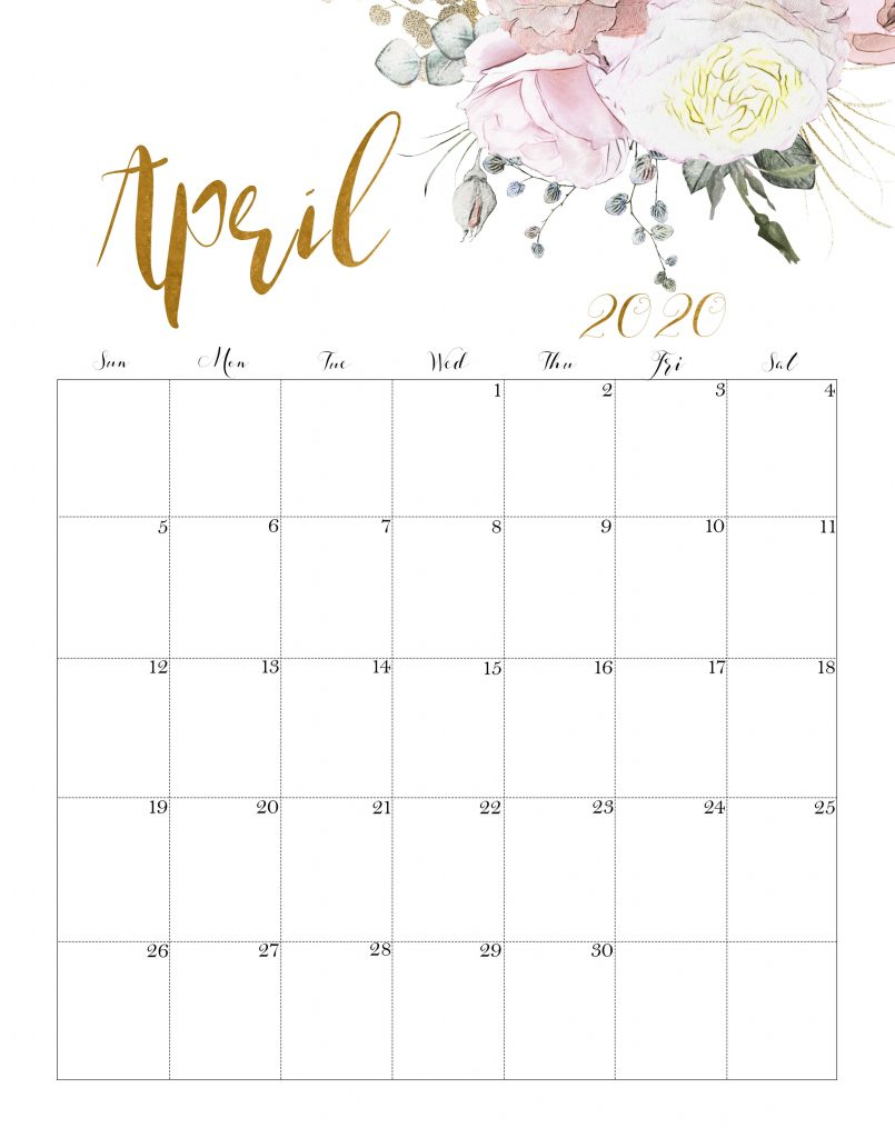April 2020 Cute Calendar Printable