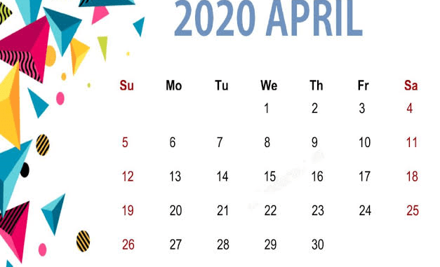 Cute April 2020 Floral Calendar For Desk & Wall