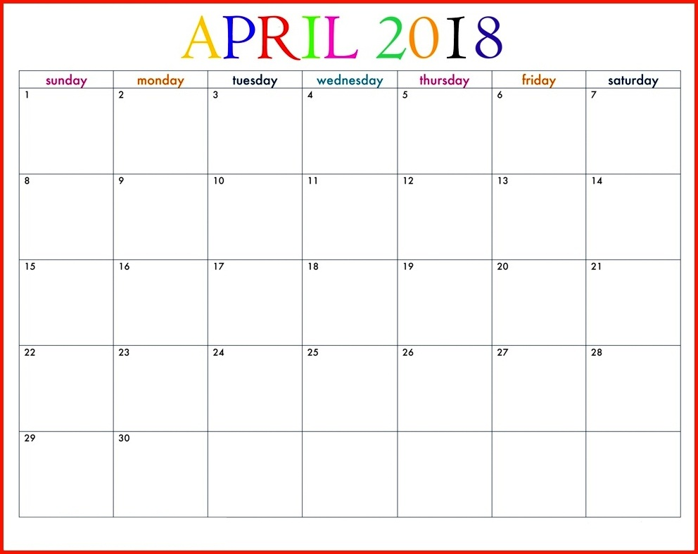 Cute Printable Calendar April 2018