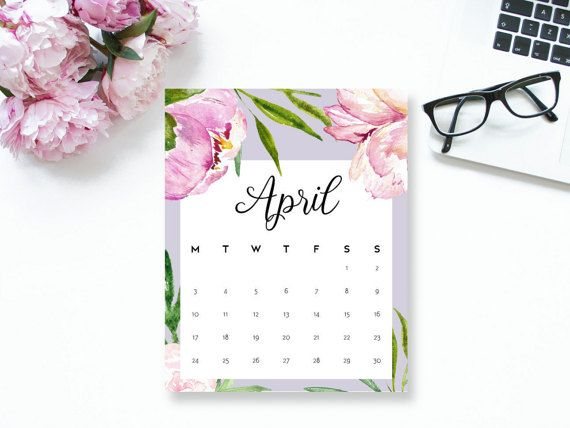 Floral Printable Wall Calendar 2018 For April Month