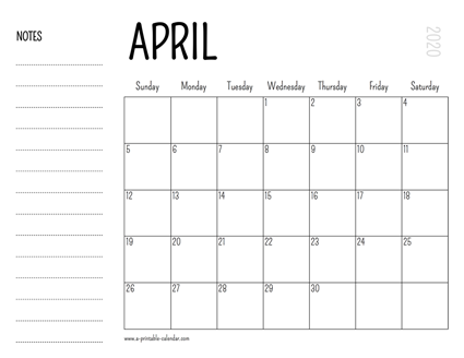 Holidays for April 2020