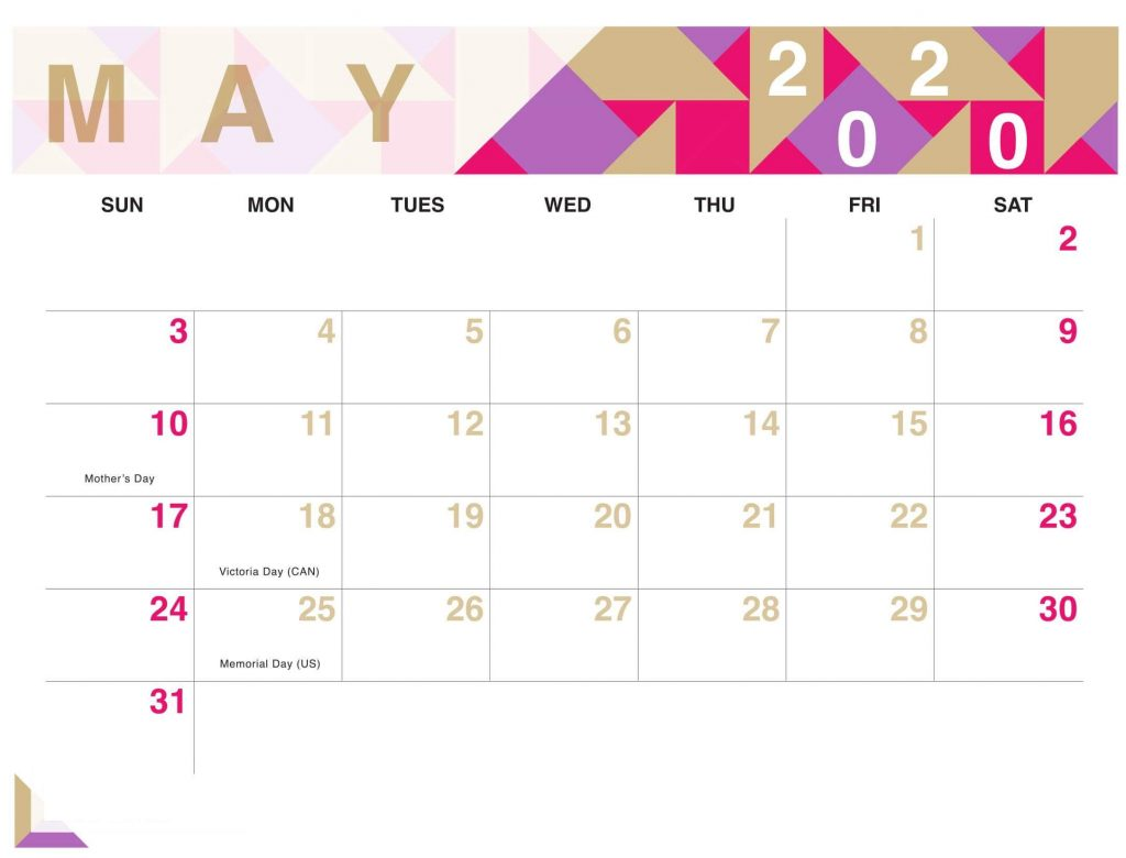 Cute May 2020 Calendar With Holidays Printable Dates