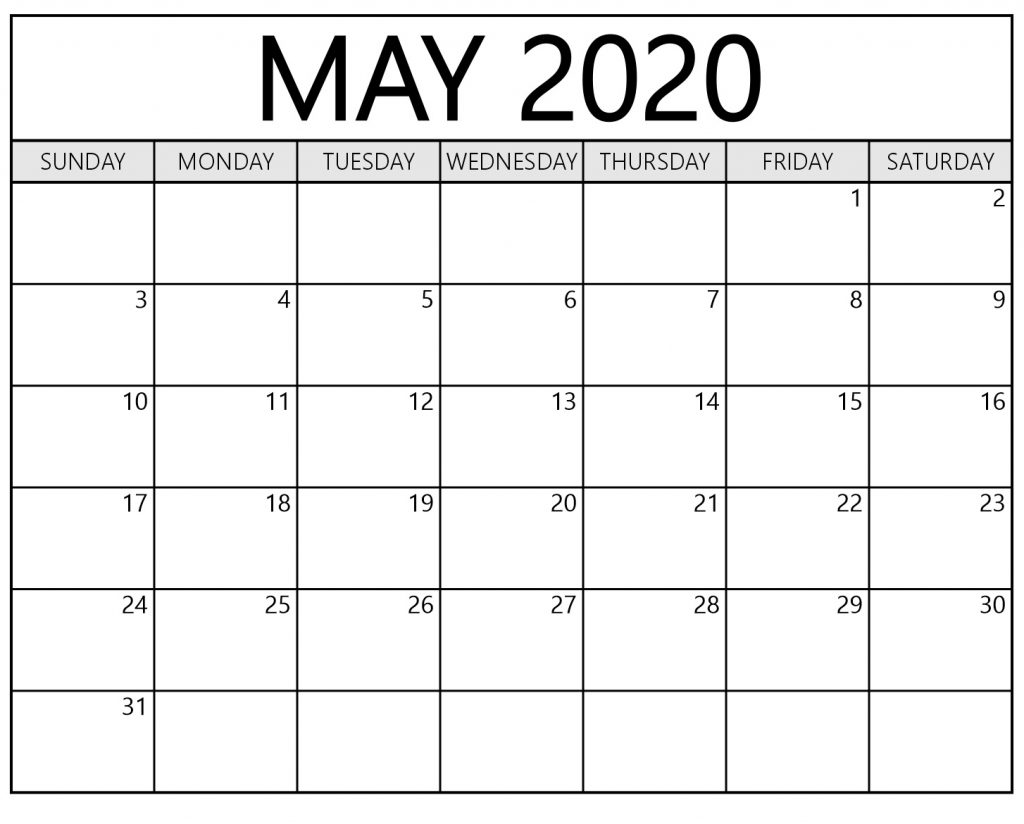 May 2020 Calendar Printable Waterproof