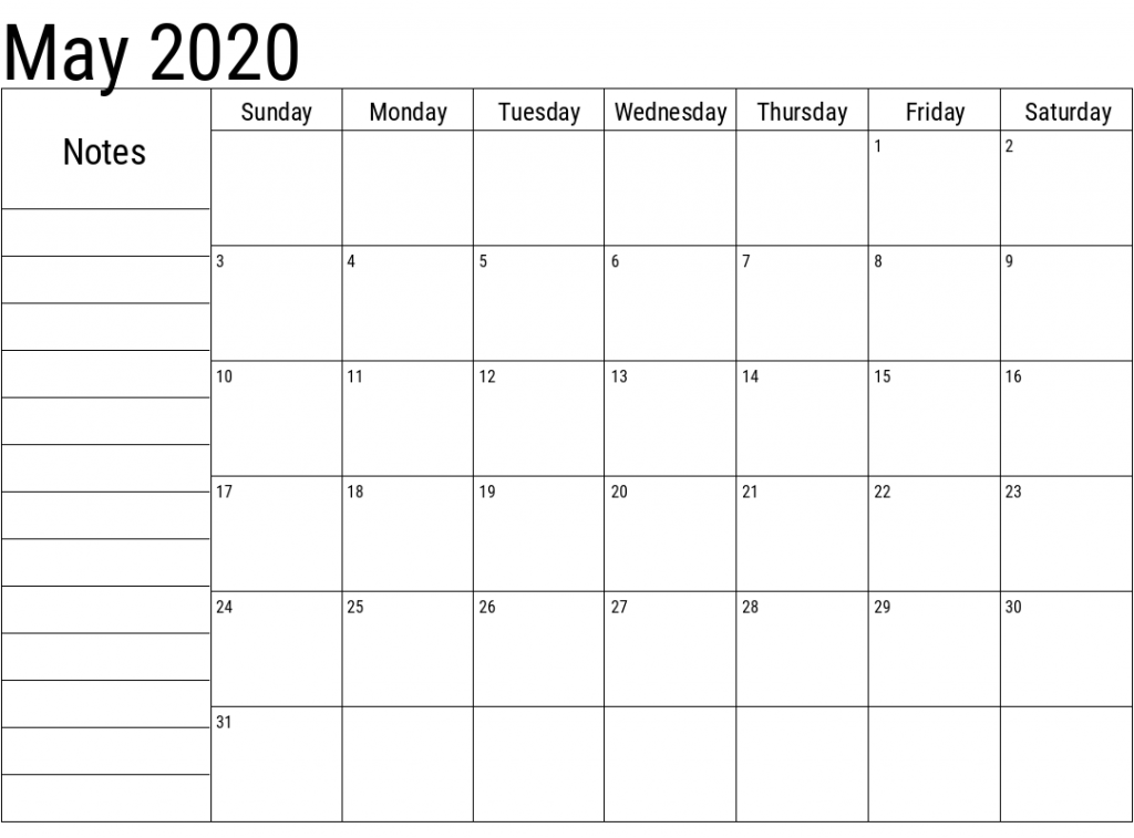 May 2020 Printable Calendar A4 Letter Page