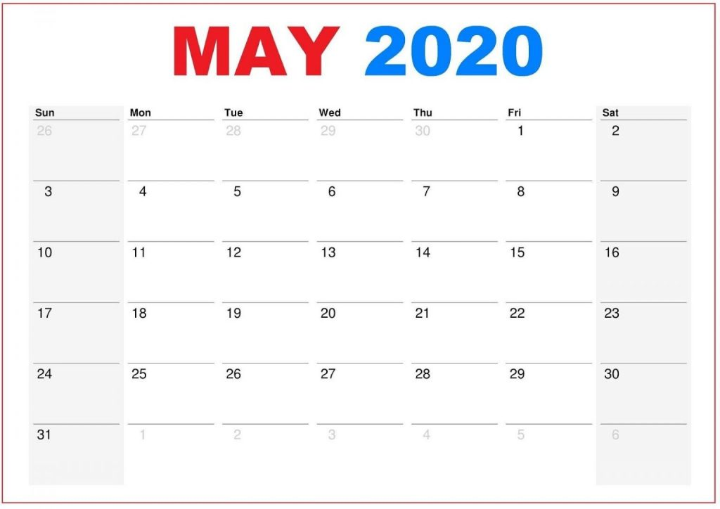May 2020 Printable Calendar Blank Template