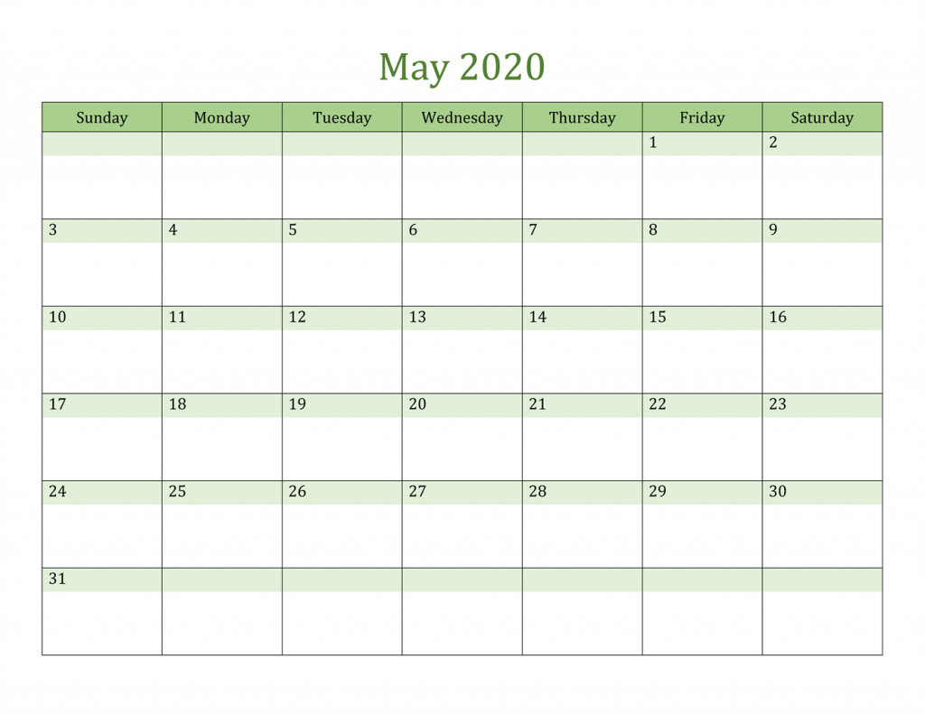 May 2020 Printable Calendar USA