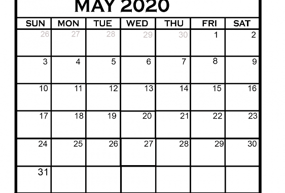 Printable May 2020 Calendar Blank Templates