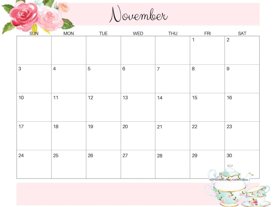 Cute November 2019 Calendar Images