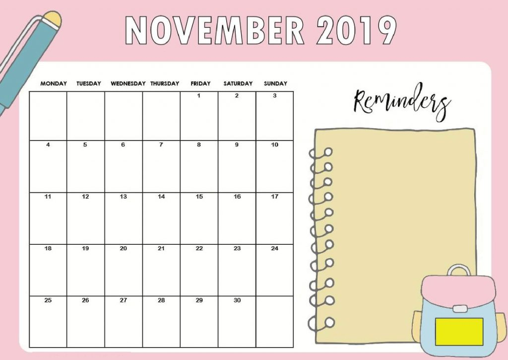 November 2019 Wall Calendar For Desk