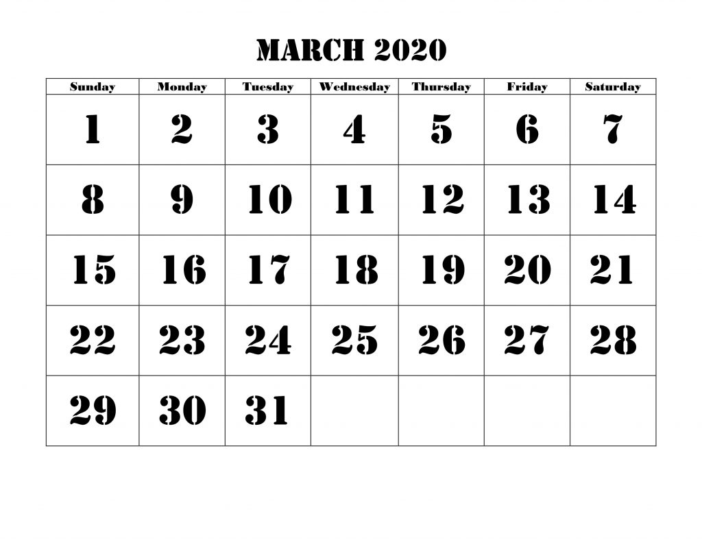 Blank Calendar For March 2020 Printable