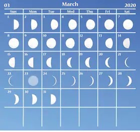 Moon Calendar March 2020 with Phases