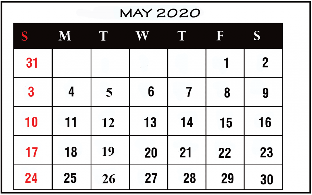 Free Monthly May Calendar 2020