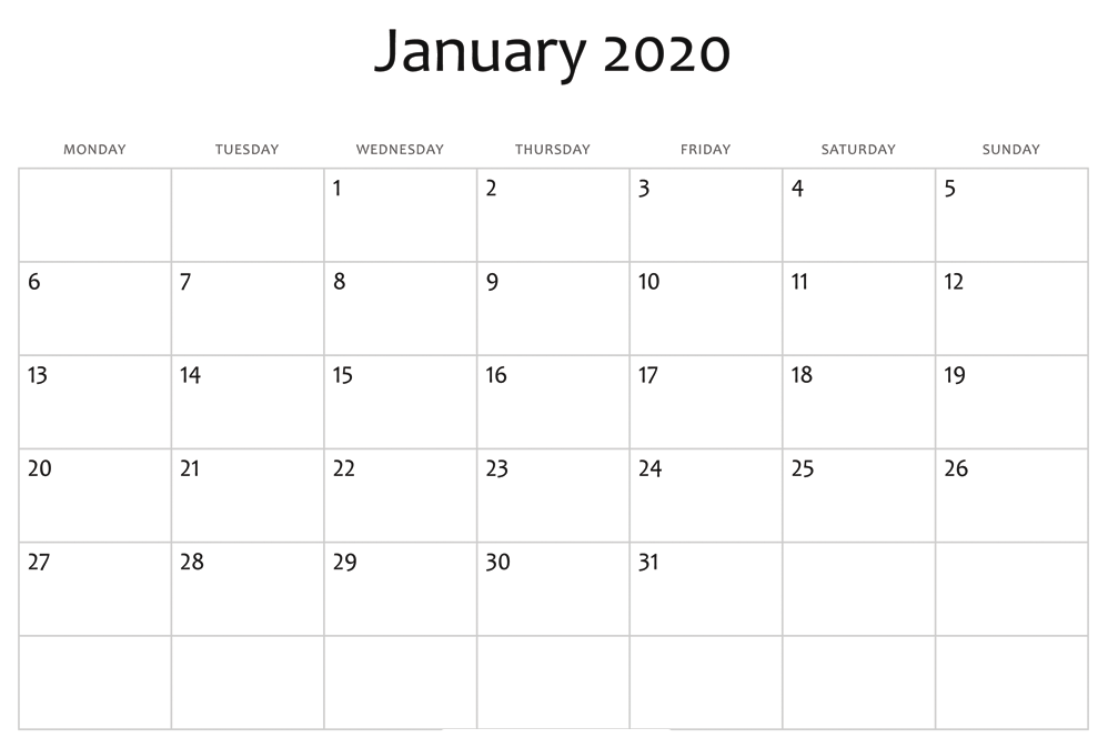 January 2020 Calendar Download