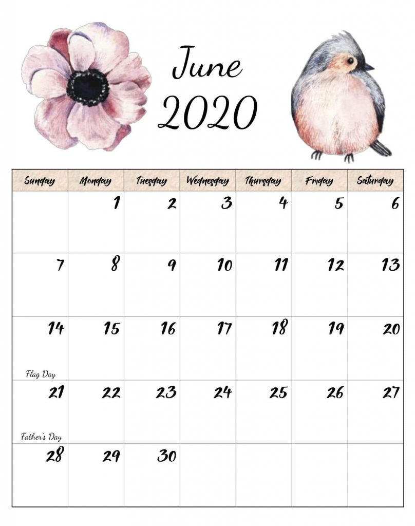 June 2020 Cute Calendar Printable