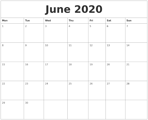 June 2020 Large Printable Calendar