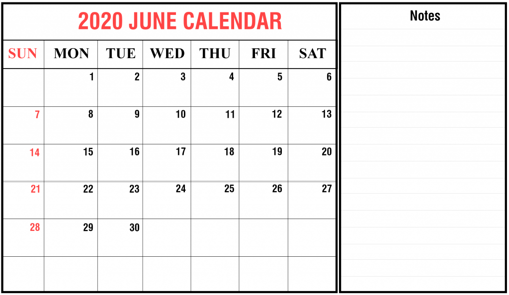 June 2020 Printable Calendar Blank Template