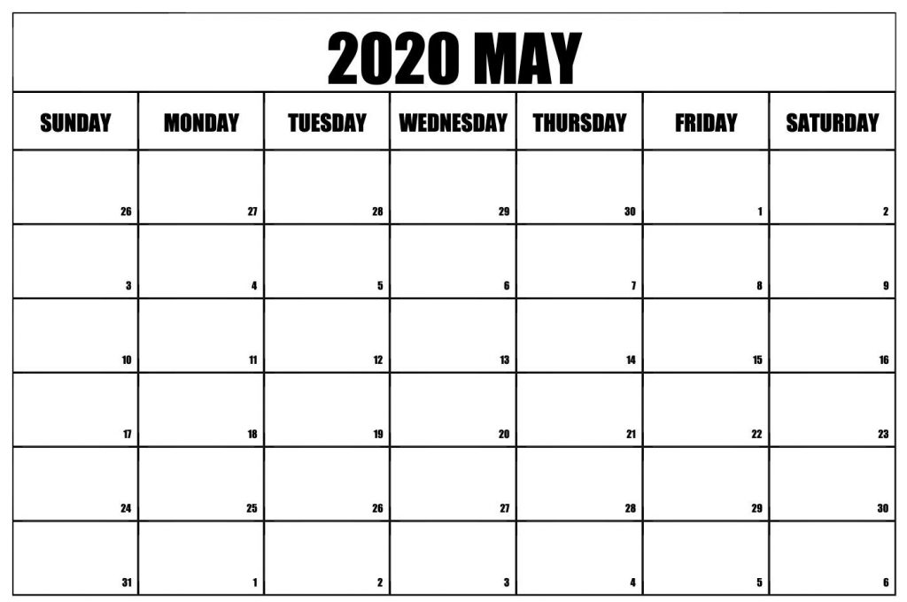 May 2020 Calendar A4 Letter Page