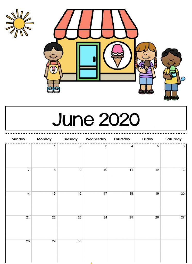 Cute June 2020 Calendar For Kids, Students