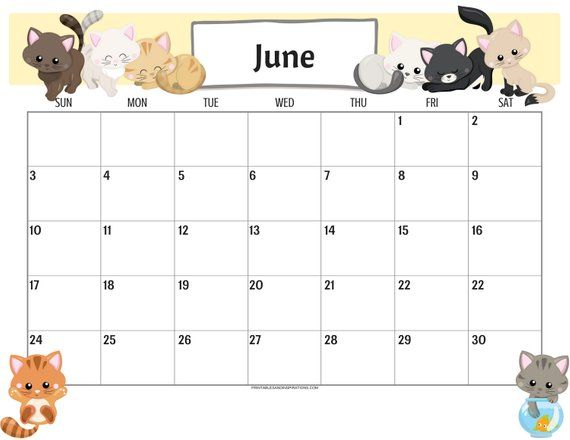 June 2020 Calendar Cute Floral For Kids