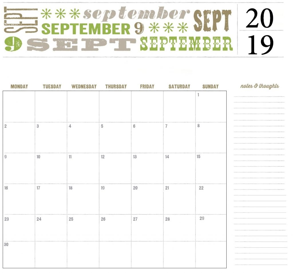 Fillable September 2019 Calendar