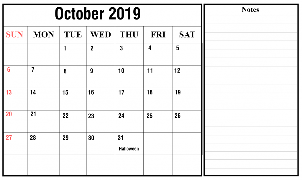 Fillable October Calendar 2019 with Notes