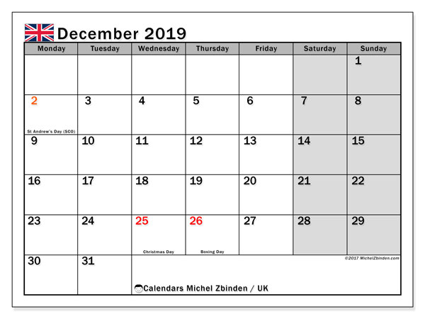December Calendar 2019 with holidays UK