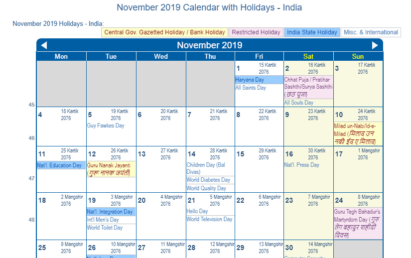 November 2019 Calendar with India Holidays