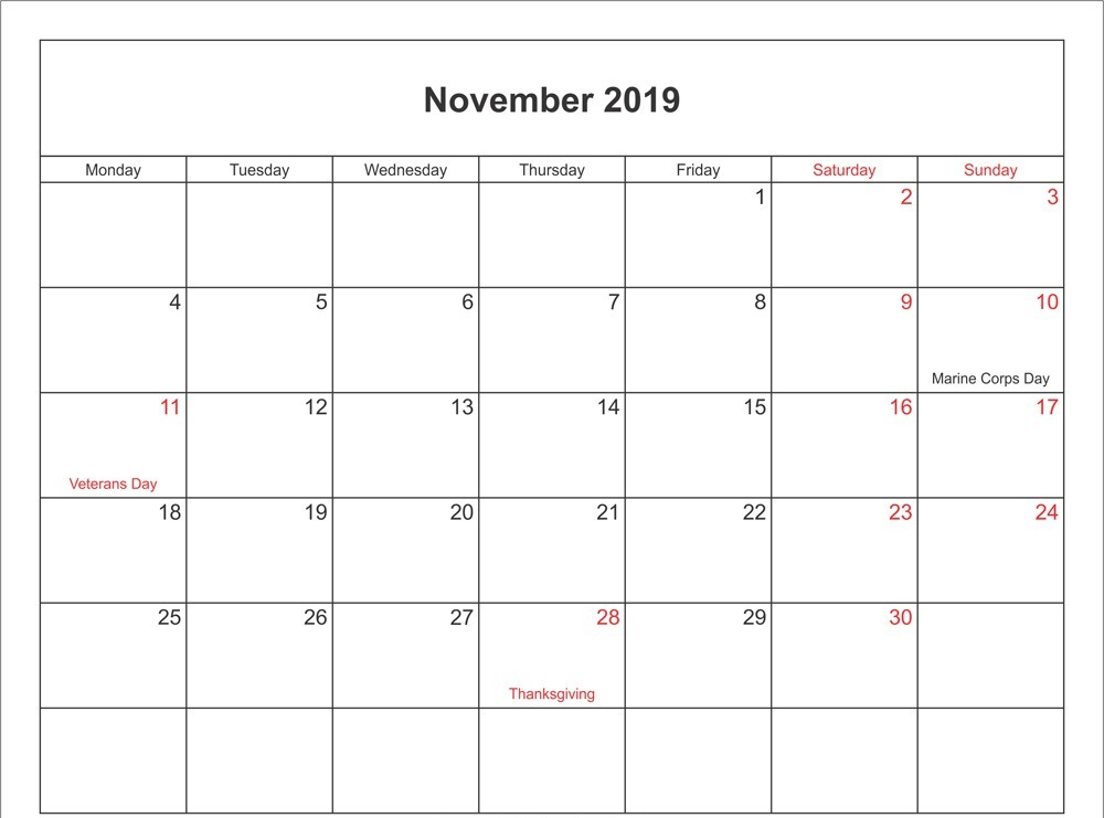 November 2019 Holidays Calendar UK