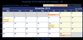 november 2019 holidays NZ