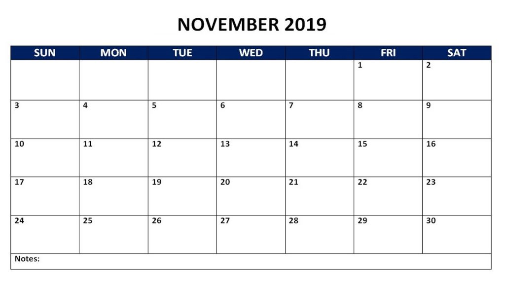 Blank Calendar For November 2019 with Large Space