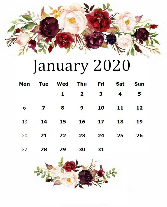 Cute January 2020 Floral Calendar Sheet