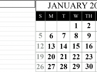Fillable Calendar For January 2020 with Large Space Notes
