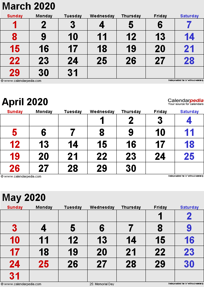 2020 March April May Calendar Printable