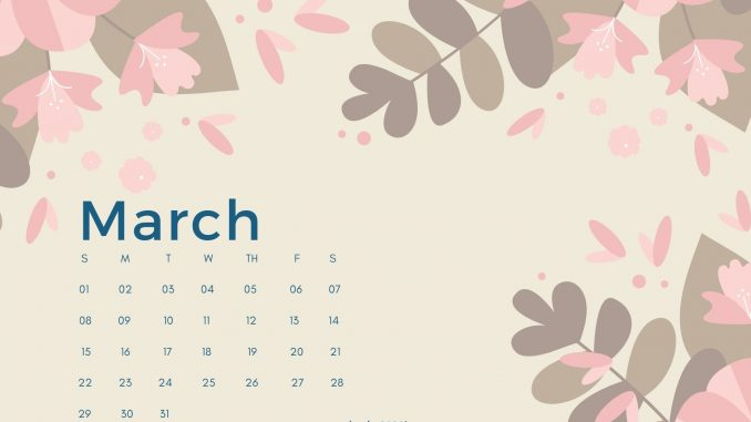 Cute March 2020 Calendar Floral Design