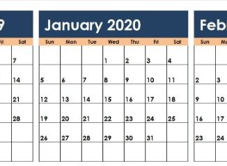 December January February 2020 Calendar PDF Word Excel