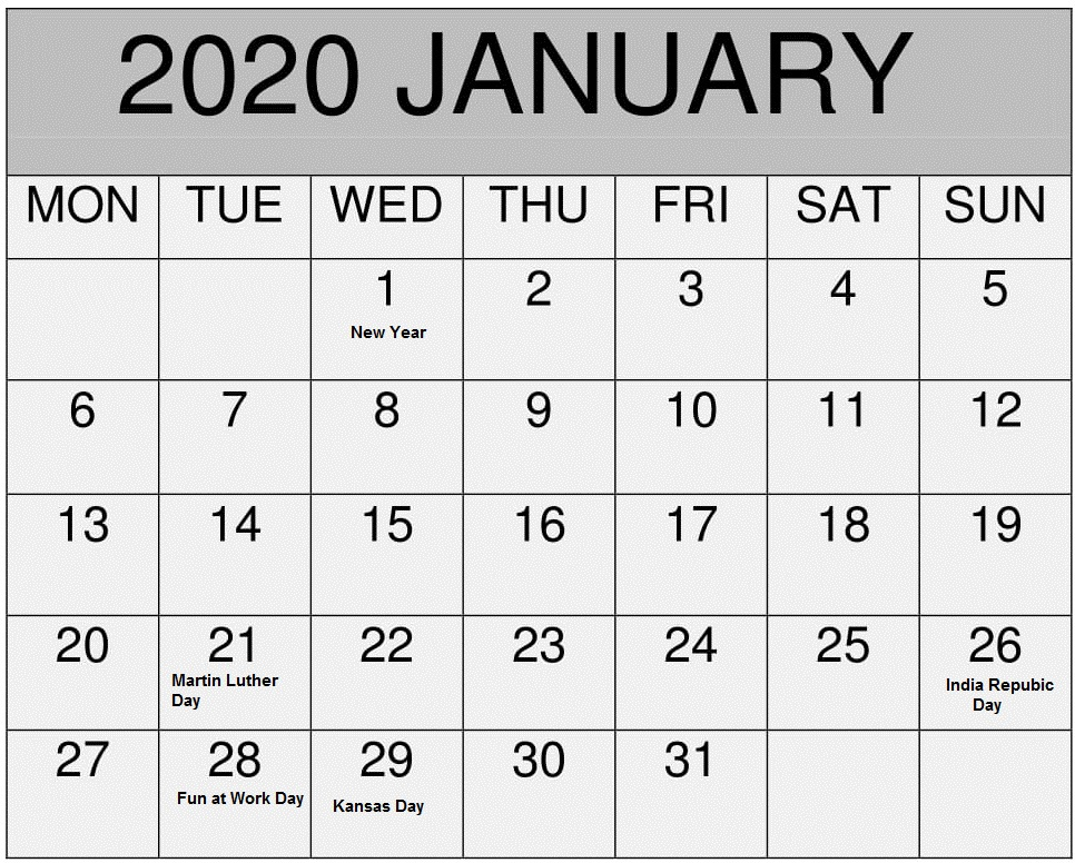 January 2020 Calendar Holidays Printable