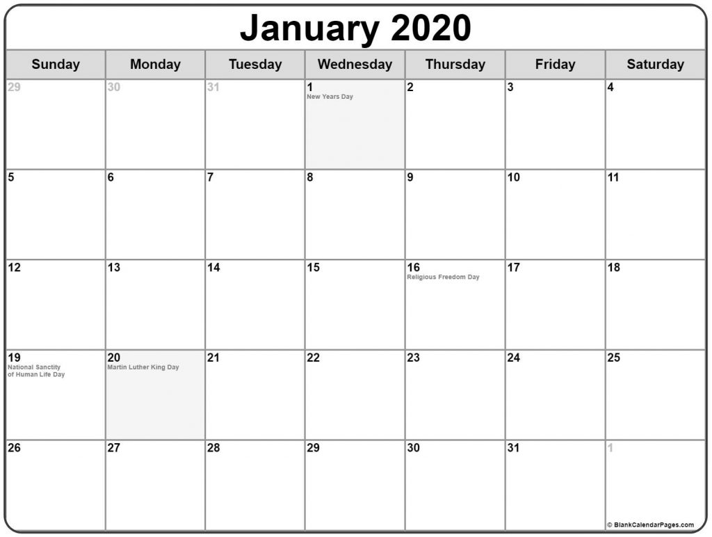 Printable Calendar 2020 Calendar With Holidays Usa