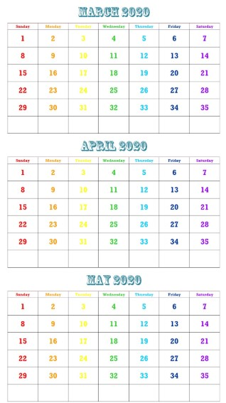 March April May 2020 Calendar Printable