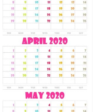 March April May Calendar 2020