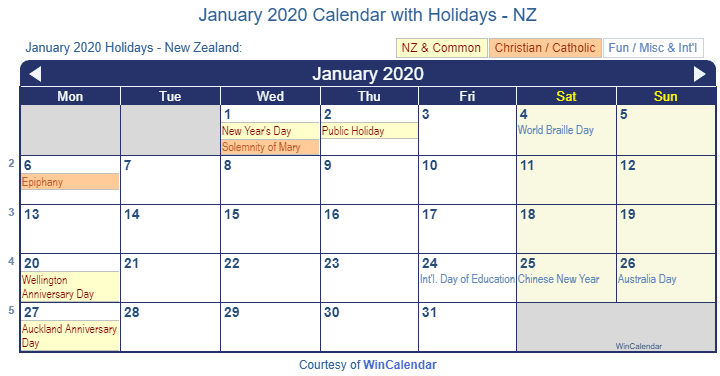 january 2020 calendar with holidays nz