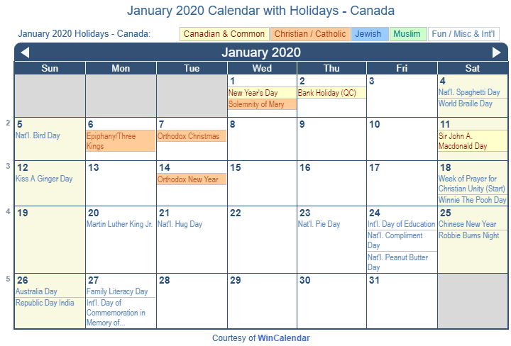 january 2020 holidays canada