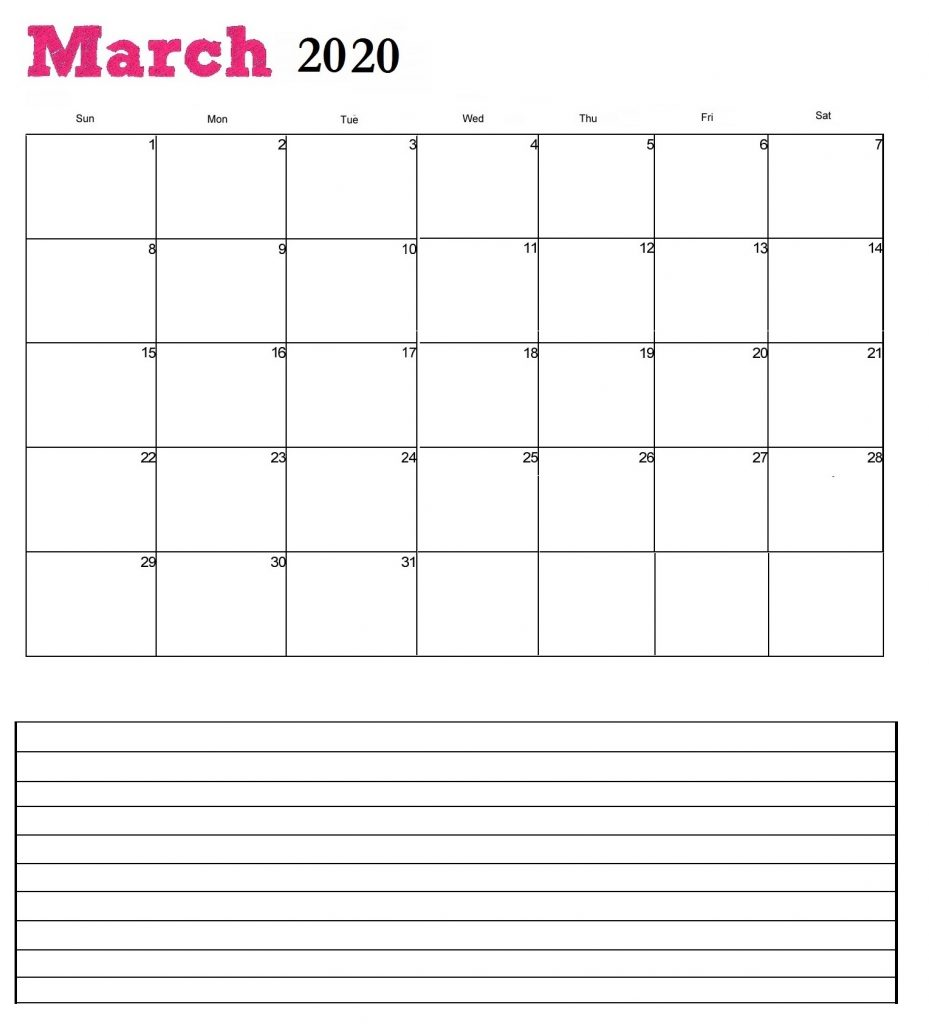 March 2020 Calendar for desk
