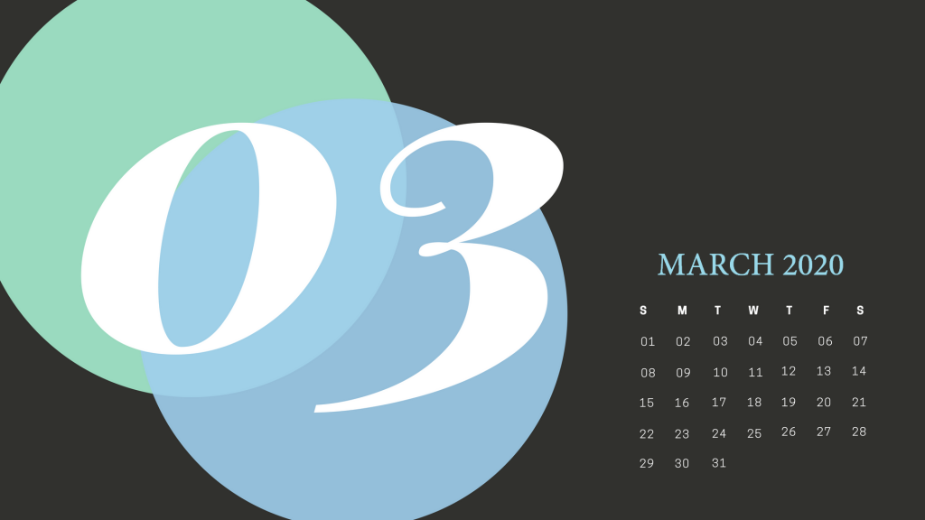 March 2020 Desk Calendar Printable