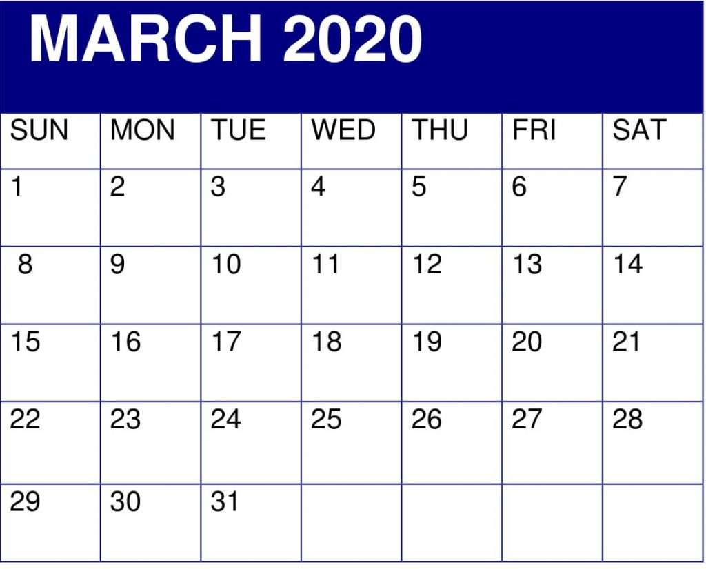 March 2020 Desk Calendar Template