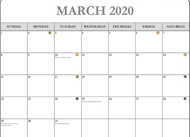 March 2020 Moon Phase Template